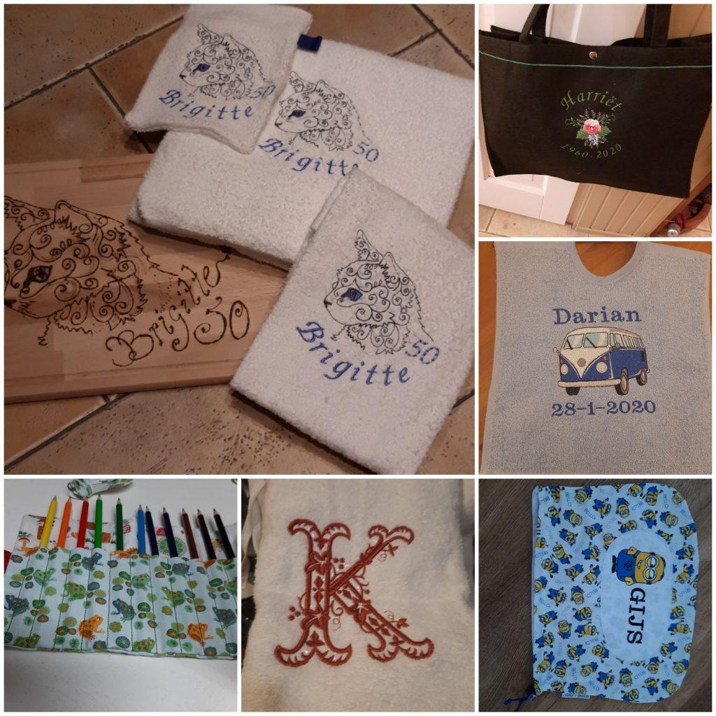 Handdoeken met matching brood/kaasplankje, handdoeken, tas met persoonlijk bericht en potlodenhouder